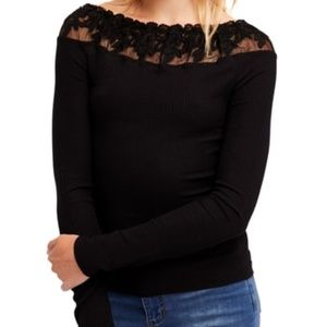 Free People admire me floral lace off shoulder top